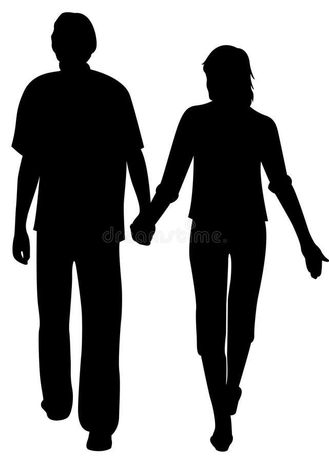 homem e mulher que guardam para as mãos ilustração royalty free