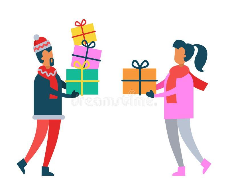 Homem e mulher que guardam presentes de Natal nas mãos ilustração stock