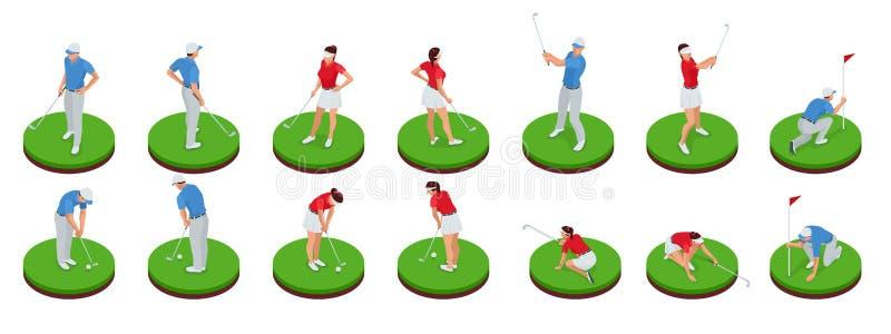 Homem e mulher que jogam o golfe em um campo de golfe Conceito do clube de golfe Elementos isométricos do projeto do esporte Grup ilustração do vetor