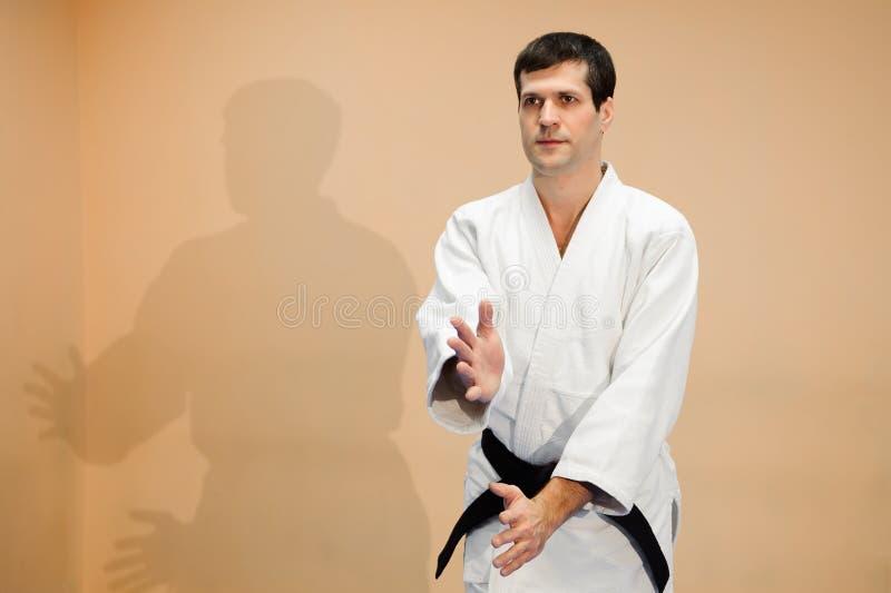 Homem e mulher que lutam no treinamento do Aikido na escola de artes marciais imagem de stock