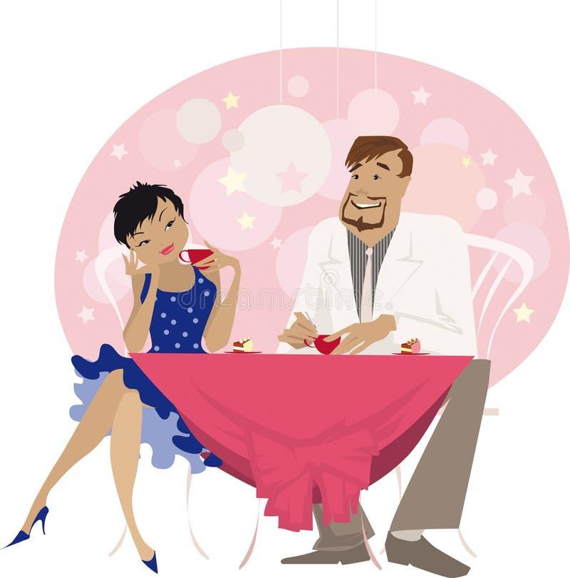 Homem e mulher que têm bebidas ilustração royalty free