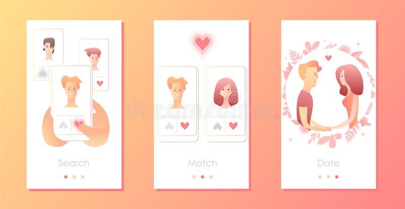 Homem e mulher que usa a aplicação móvel para datar ou procurar o sócio romântico no Internet ilustração royalty free