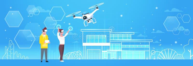Homem e mulher que vestem vidros da realidade 3d virtual com a bandeira horizontal de Quadrocopter do zangão moderno ilustração stock