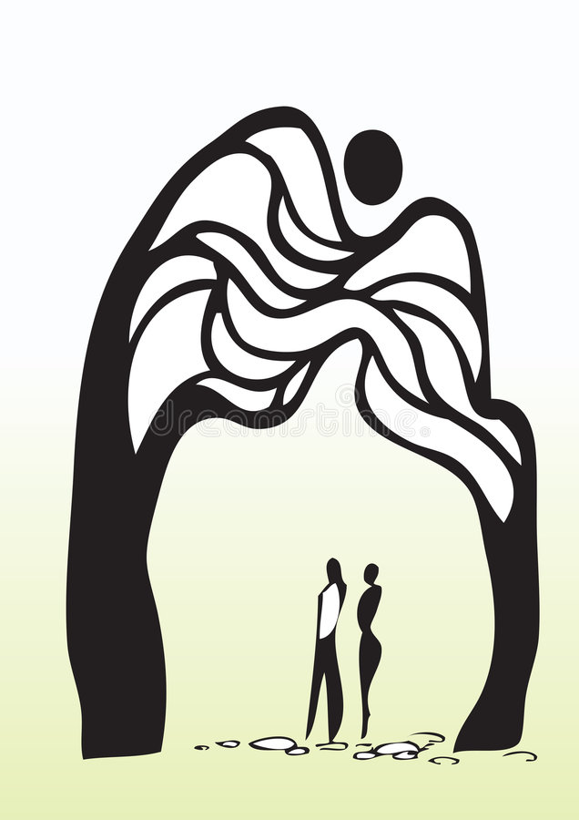 Homem e mulher sob a árvore ilustração do vetor
