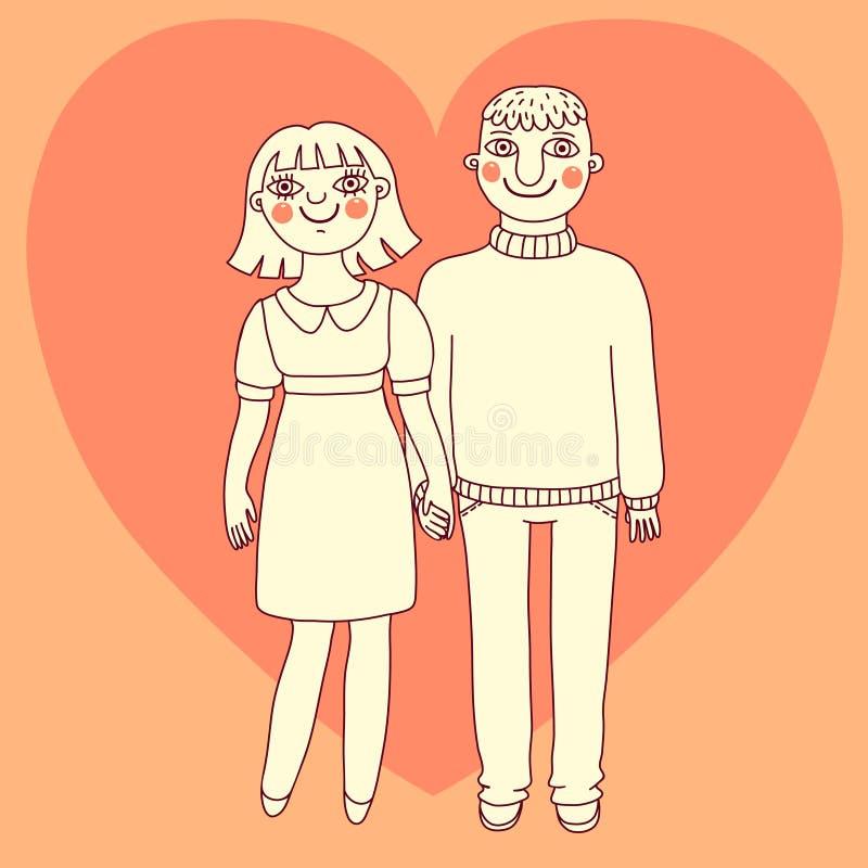 Homem e mulher tirados. Pares novos no amor. ilustração do vetor