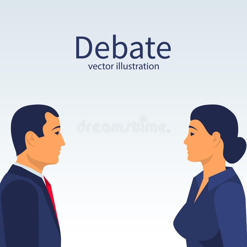 Homem e mulheres do debate ilustração royalty free
