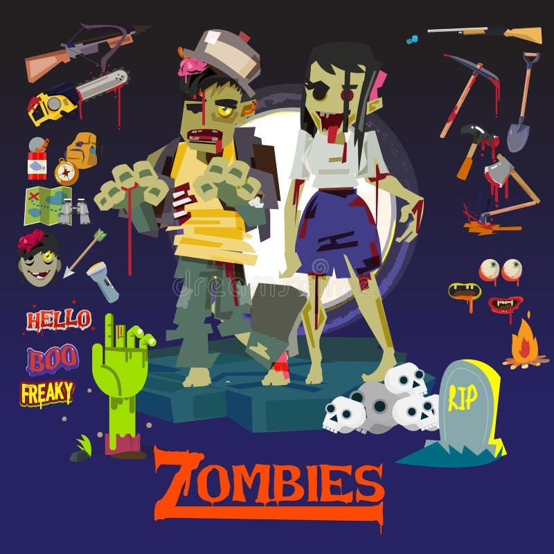 Homem e mulheres do zombi projeto de caráter com grupo do ícone arma e ilustração stock