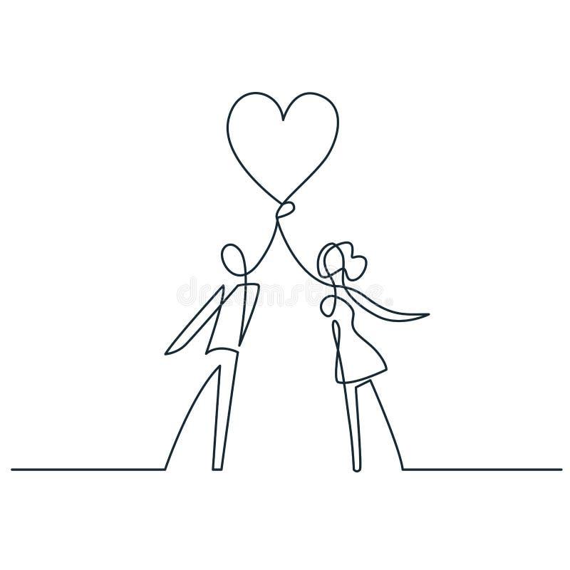 Homem e mulheres que guardam linha contínua desenho do coração a uma do vetor Ame pares ilustração royalty free