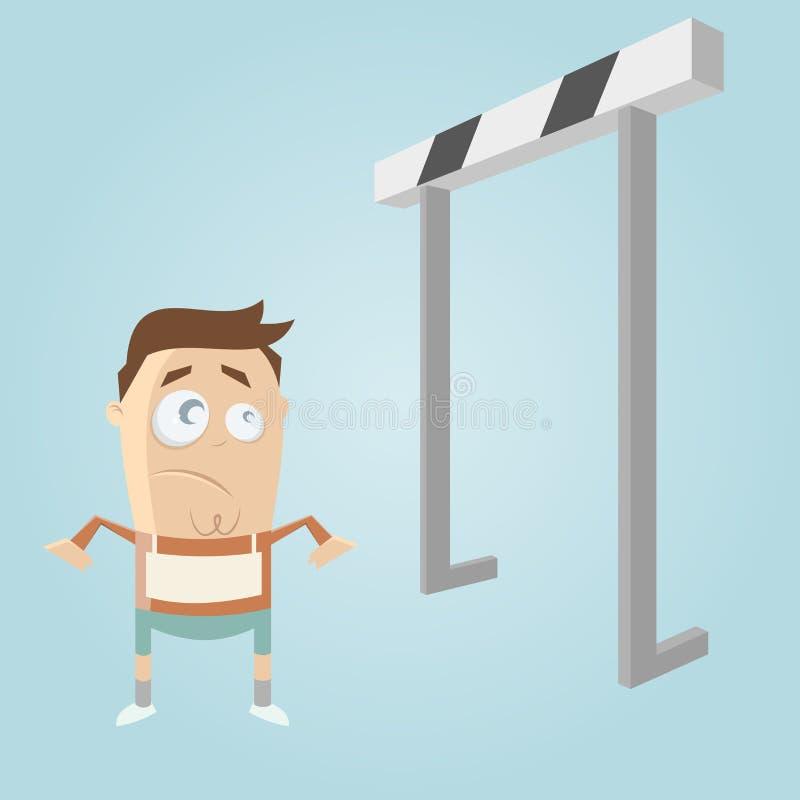 Homem e obstáculos dos desenhos animados ilustração stock