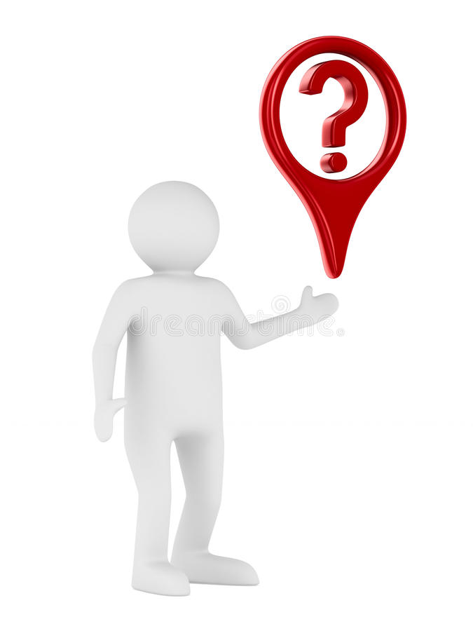 Homem e pergunta no fundo branco ilustração stock