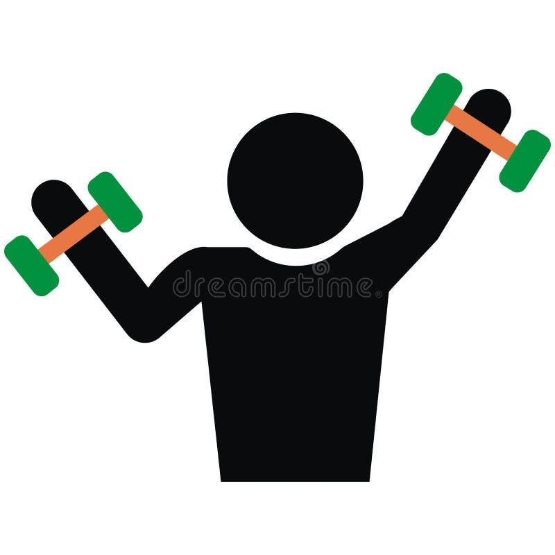 Homem e peso, levantamento de peso, figura preta, silhueta ilustração royalty free