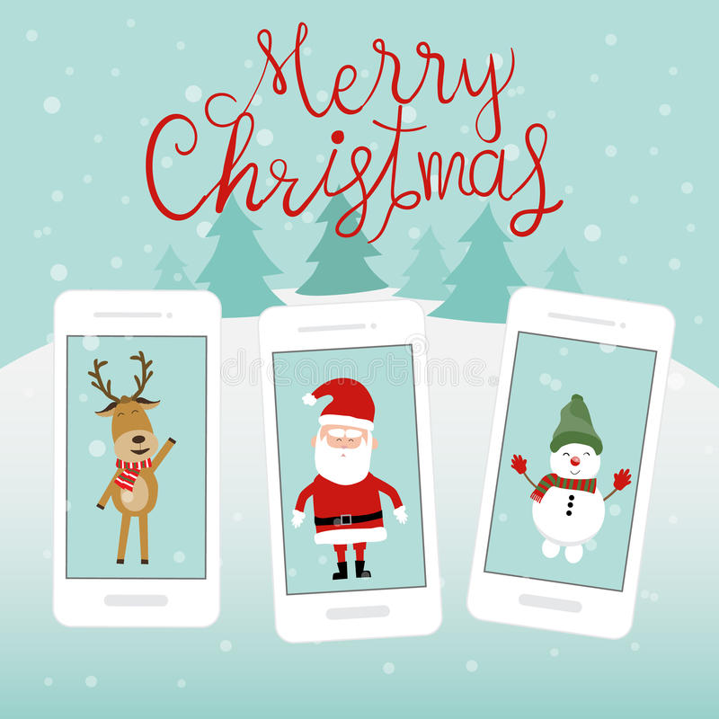 Homem e rena da neve de Papai Noel do Feliz Natal no smartph ilustração stock