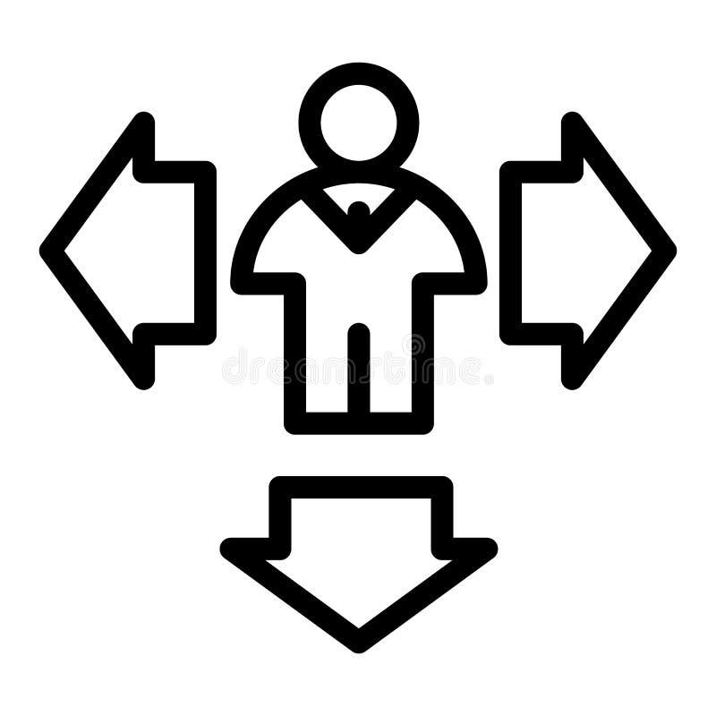 Homem e setas abaixo da linha ícone Setas do sentido e ilustração do vetor da pessoa isolada no branco Humano com lado e ilustração stock