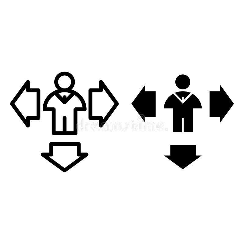 Homem e setas abaixo da linha e do ícone do glyph Setas do sentido e ilustração do vetor da pessoa isolada no branco Humano com ilustração royalty free