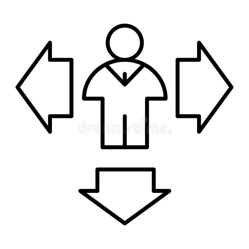 Homem e setas abaixo da linha fina ícone Setas do sentido e ilustração do vetor da pessoa isolada no branco Humano com lado ilustração stock
