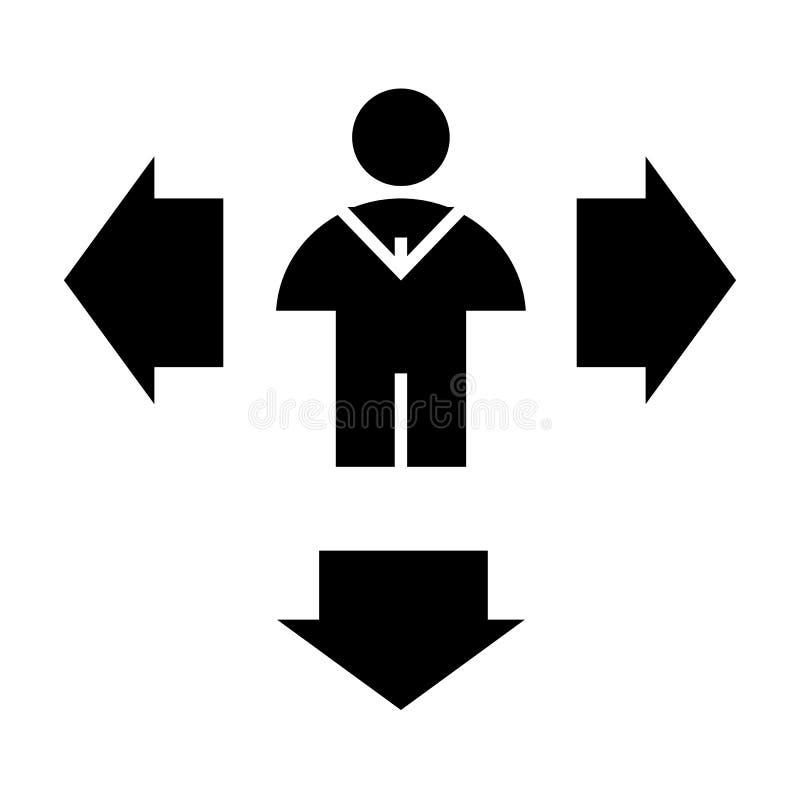 Homem e setas abaixo do ícone contínuo Setas do sentido e ilustração do vetor da pessoa isolada no branco Humano com lado e ilustração stock