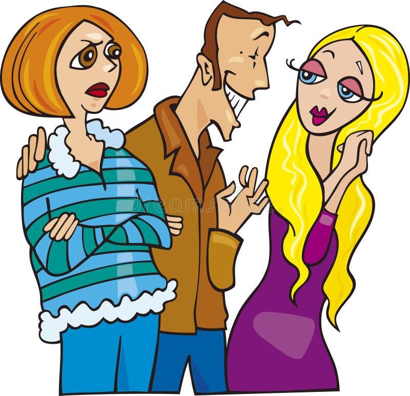 Homem e sua esposa ciumento ilustração do vetor