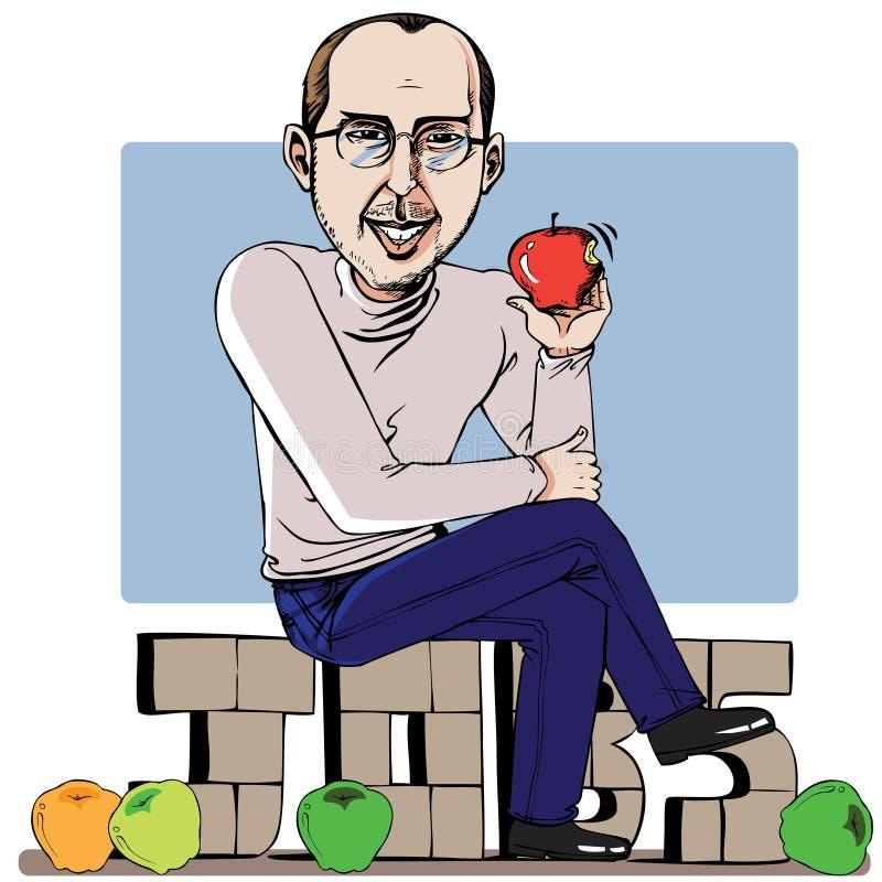 Homem e sua maçã ilustração royalty free