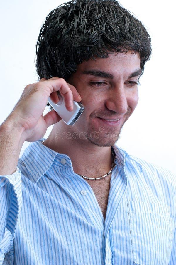 Homem e telemóvel fotografia de stock