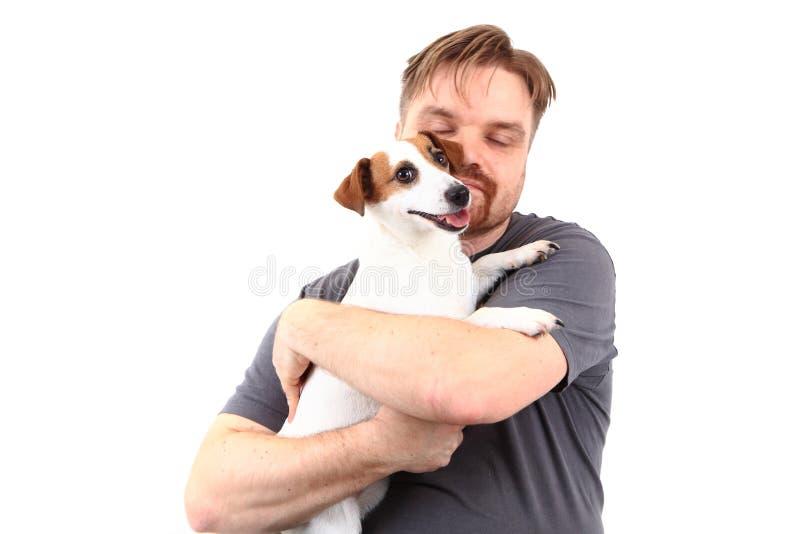 Homem e terrier de russell do jaque fotografia de stock royalty free