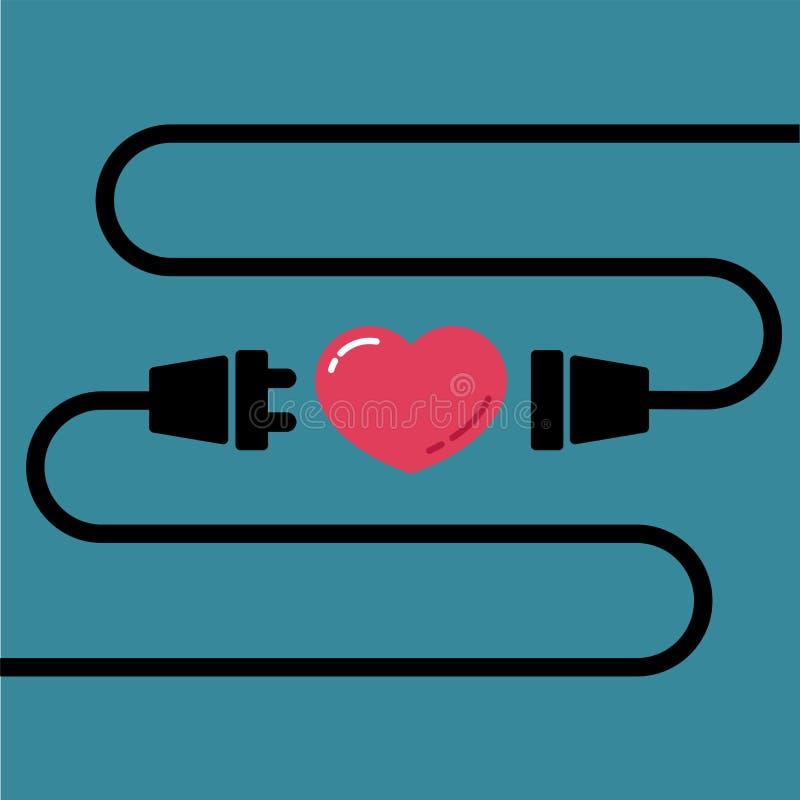 Homem e tomada fêmea a conectar para o amor e o coração para o dia de Valentim ilustração royalty free
