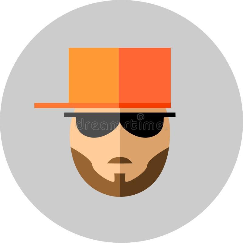 Homem elegante com barba e bigodes nos óculos de sol e bas ilustração stock
