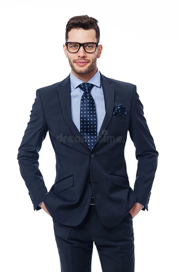 Homem elegante com vidros fotografia de stock