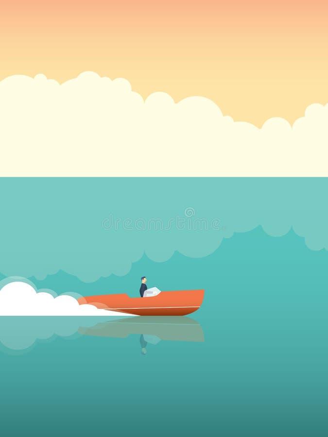 Homem elegante e rico que monta a lancha rápida no oceano Conceito do vetor para férias de verão ou férias ilustração stock