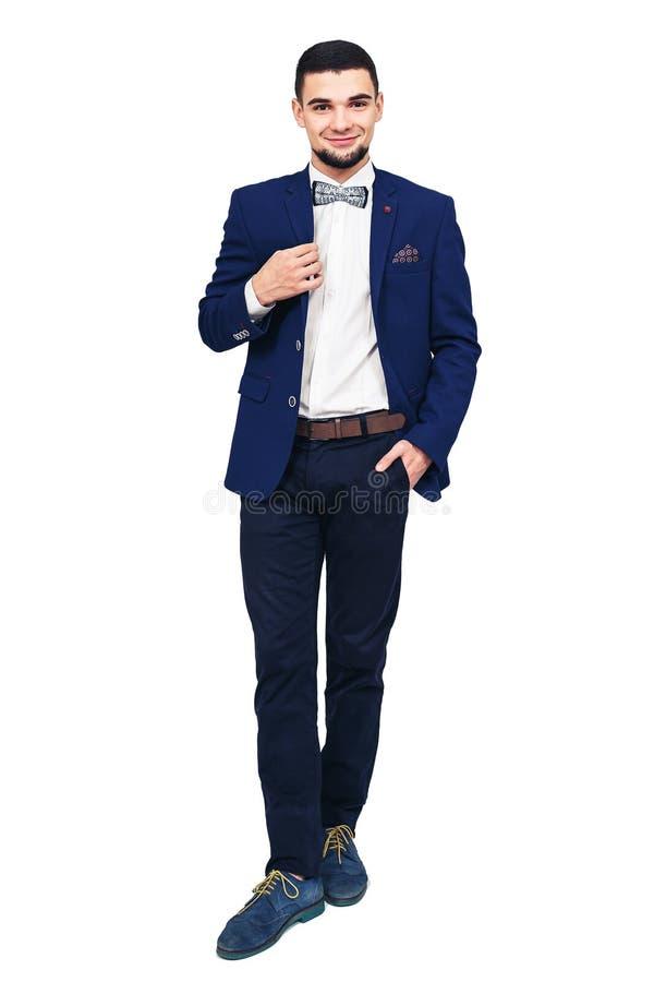 Homem elegante novo em um terno azul, homem de negócios bem sucedido seguro ou empresário imagens de stock royalty free