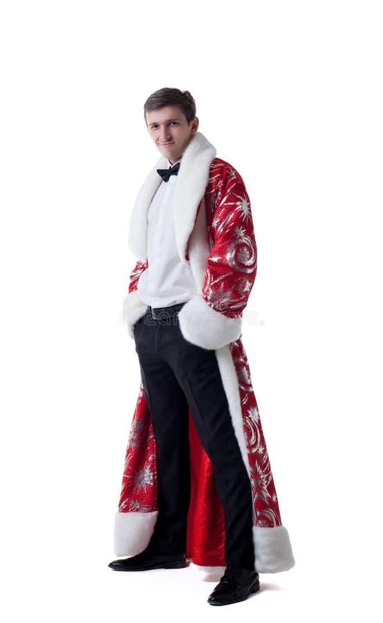Homem elegante que levanta no revestimento de Santa Claus imagens de stock royalty free