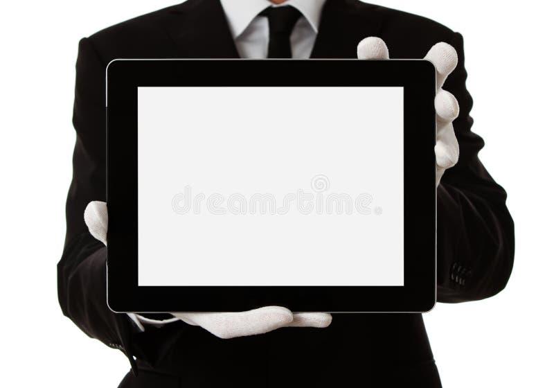 Homem elegante que prende a tabuleta digital em branco imagens de stock royalty free