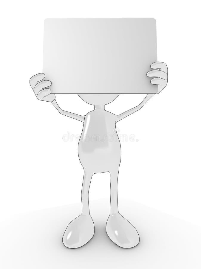 Homem em branco do sinal ilustração stock