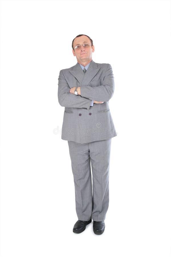 Homem em carrinhos cinzentos do terno fotos de stock