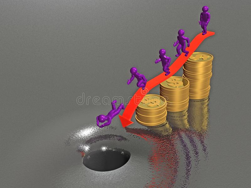 Homem em etapas do dólar ilustração do vetor