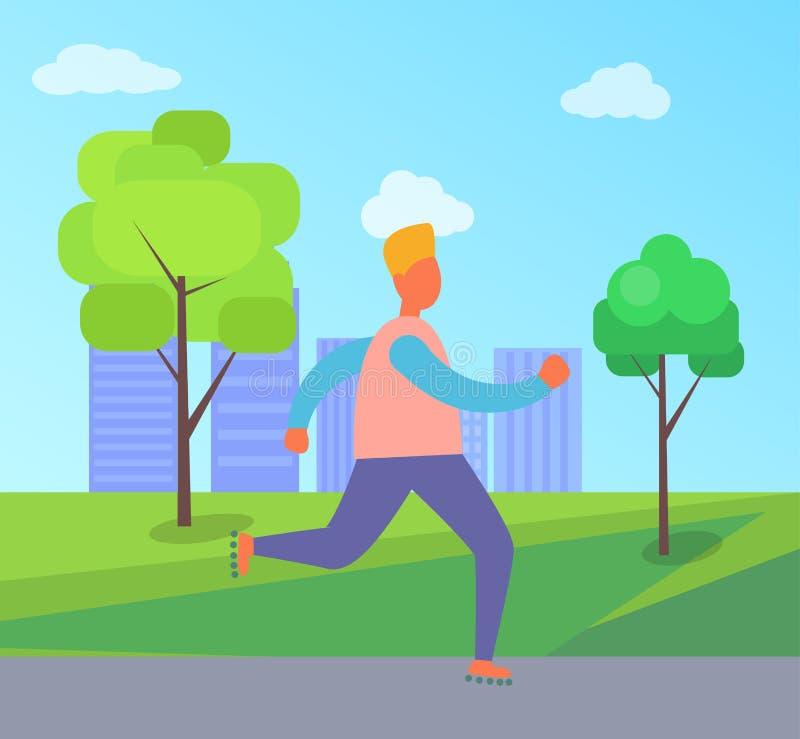 Homem em patins de rolo na ilustração do vetor do parque ilustração royalty free