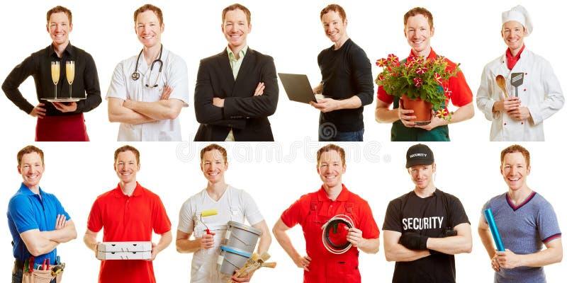 Homem em profissões e em posições diferentes fotografia de stock royalty free