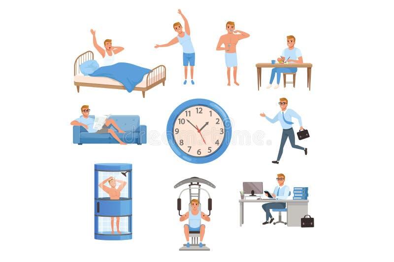 Homem em situações diferentes Tempo do dia Acordando, fazendo exercícios, dentes de escovadela, comendo, descansando no sofá, cor ilustração do vetor