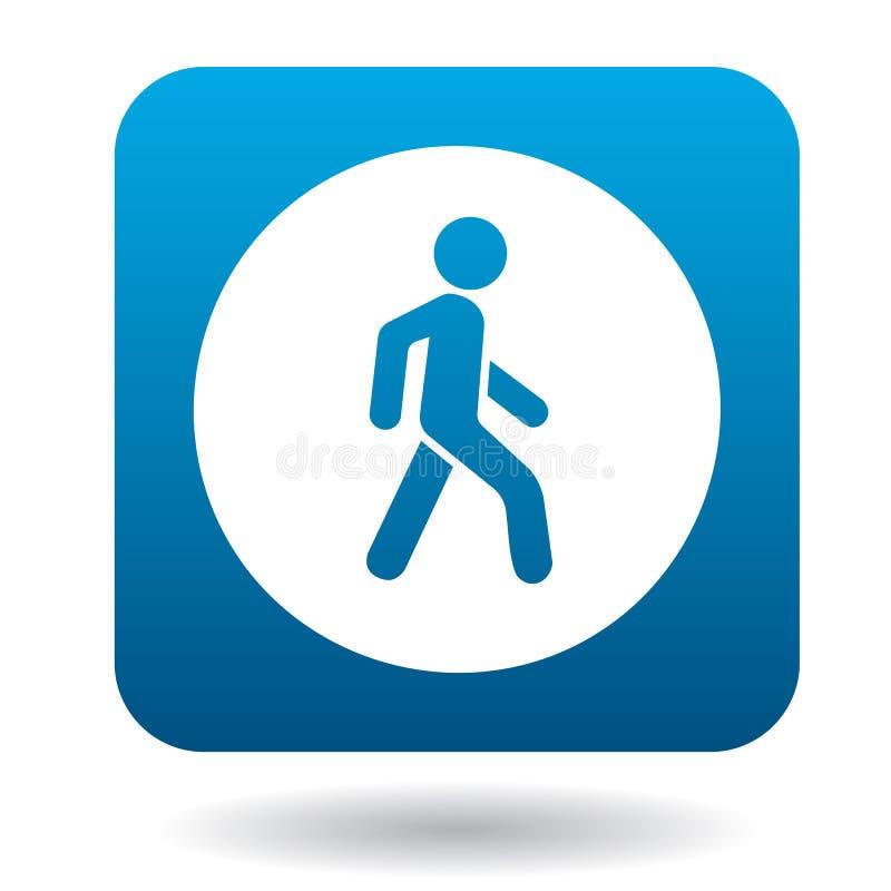 Homem em um ícone do cruzamento pedestre, estilo simples ilustração royalty free