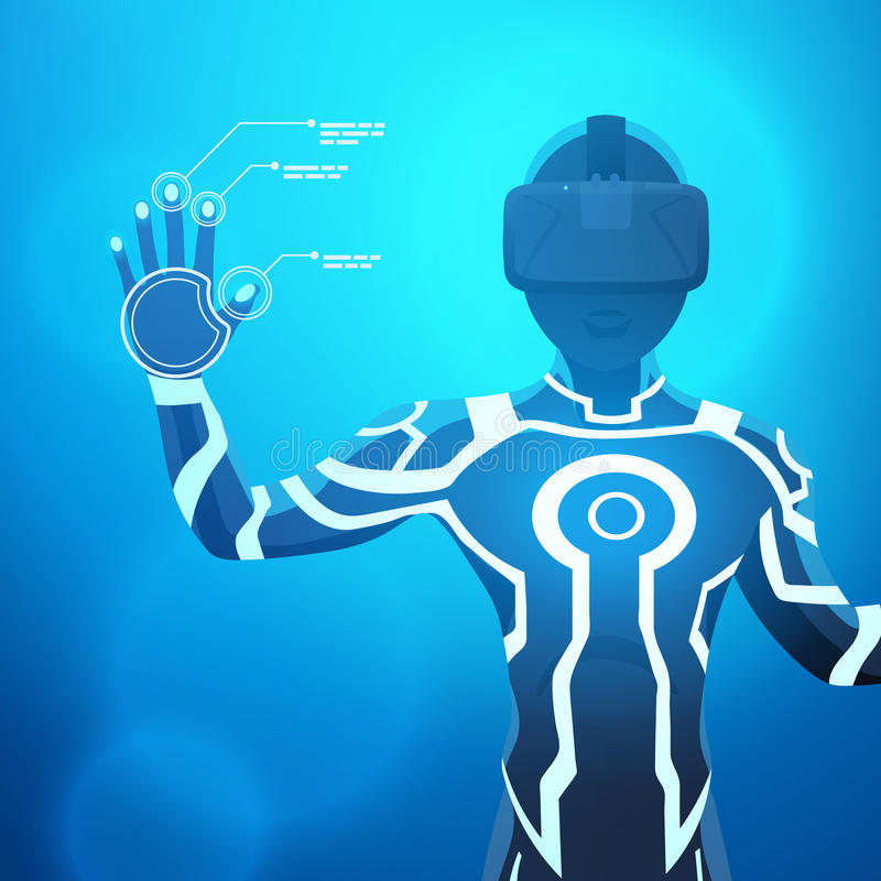 Homem em um capacete da realidade virtual imagem de stock