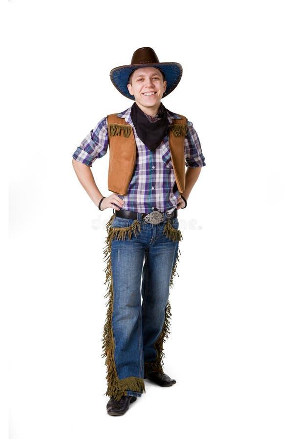Homem em um chapéu de cowboy preto foto de stock