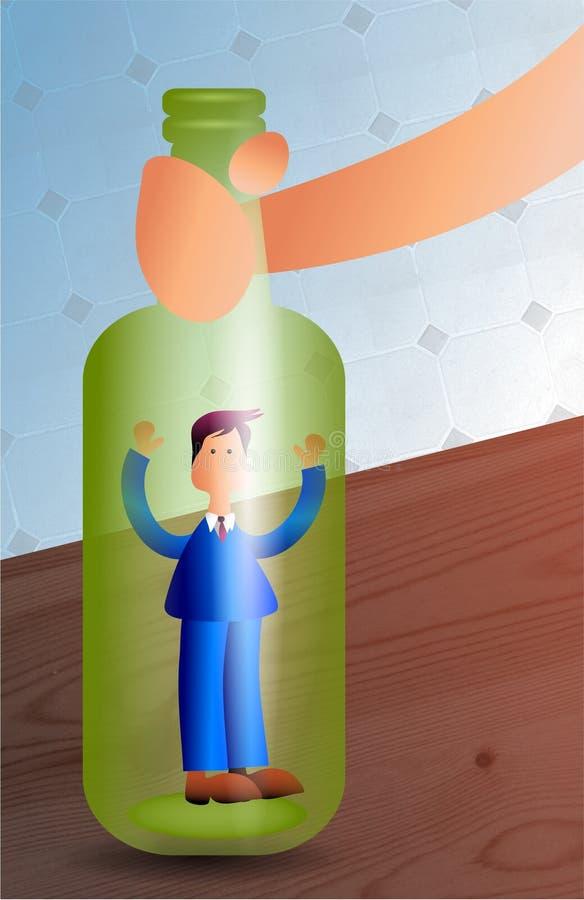 Homem em um frasco ilustração stock