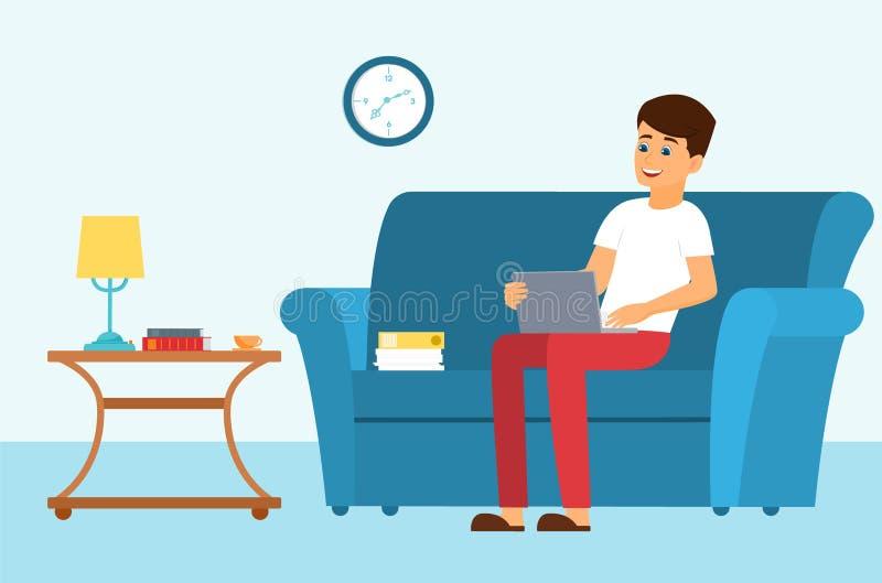 Homem em um sofá com leptop ilustração royalty free