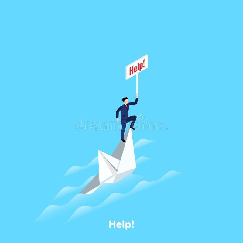 Homem em um terno de negócio em um navio de naufrágio com uma ajuda do sinal ilustração do vetor