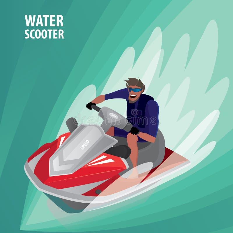 Homem em um 'trotinette' da água ilustração stock