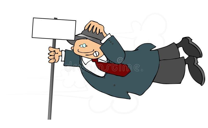 Homem em um vento pesado ilustração stock