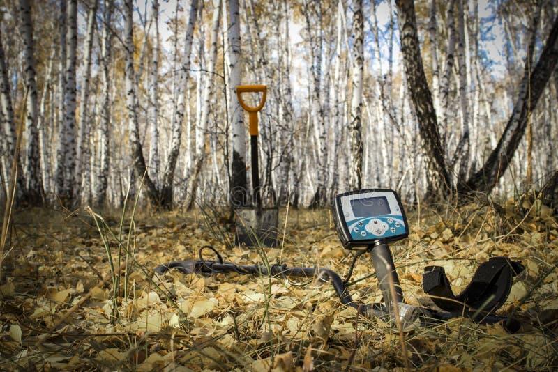 Homem em uma caça ao tesouro com um detector de metais nas madeiras no campo imagem de stock royalty free