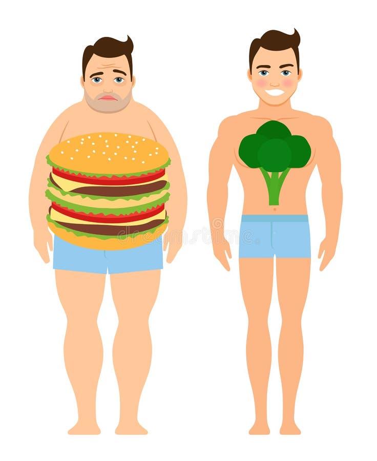 Homem em uma dieta ilustração do vetor