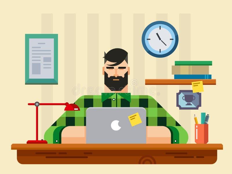 Homem em uma mesa na frente do portátil ilustração royalty free