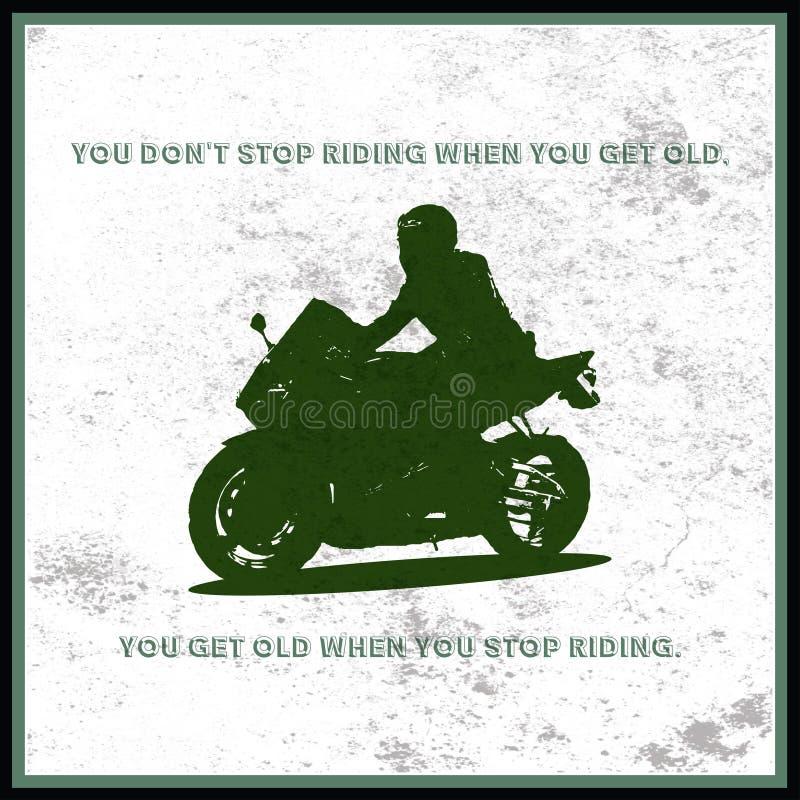 Homem em uma motocicleta muito rápida ilustração stock
