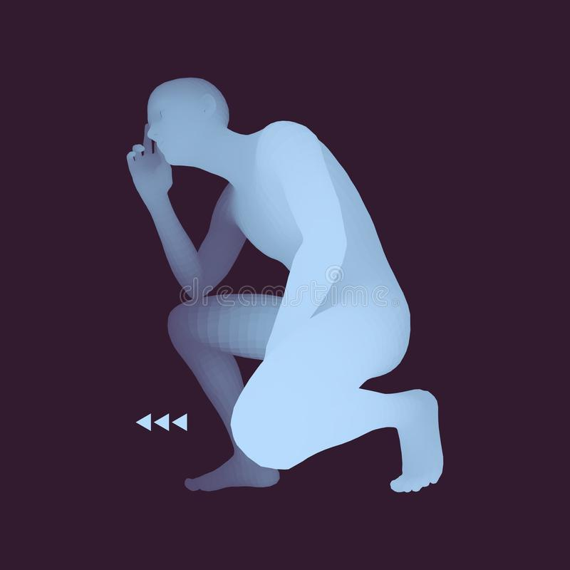Homem em uma pose do pensador modelo 3D do homem Ilustra??o do vetor do neg?cio, da ci?ncia, da psicologia ou da filosofia ilustração stock